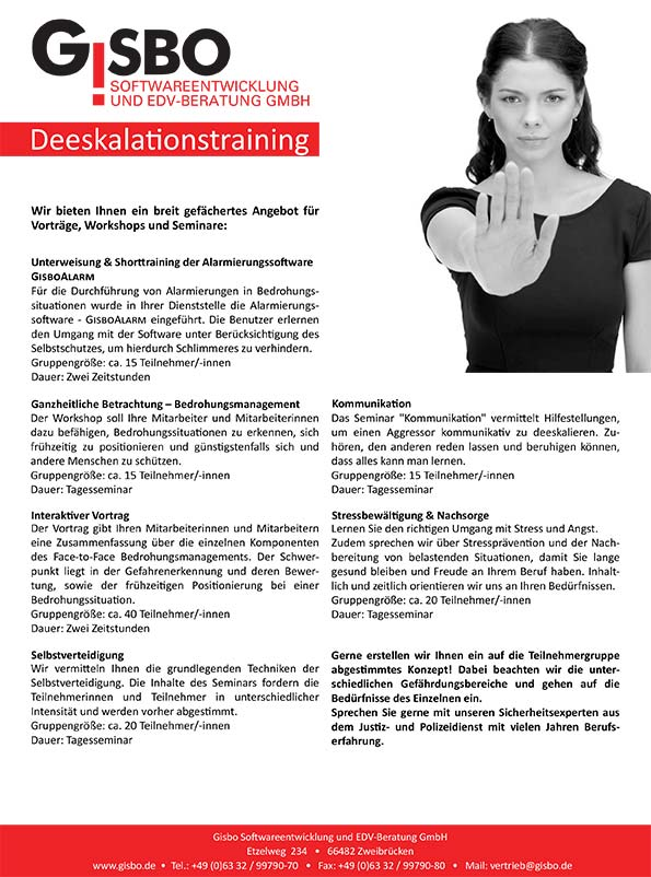 Flyer Deeskalationstraining